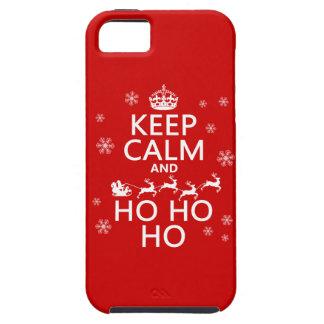 Guarde la calma y Ho Ho Ho - navidad/Santa iPhone 5 Fundas