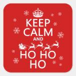 Guarde la calma y Ho Ho Ho - navidad/Santa Calcomania Cuadradas Personalizadas