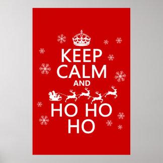 Guarde la calma y Ho Ho Ho - navidad/Santa Póster