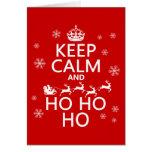 Guarde la calma y Ho Ho Ho - navidad/Santa Tarjeton