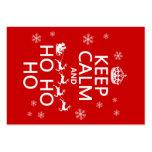 Guarde la calma y Ho Ho Ho - navidad/Santa Tarjetas De Negocios