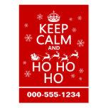 Guarde la calma y Ho Ho Ho - navidad/Santa Plantilla De Tarjeta De Visita