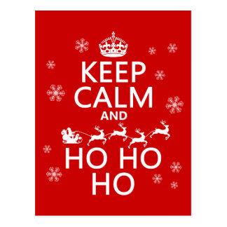 Guarde la calma y Ho Ho Ho - navidad/Santa Postal