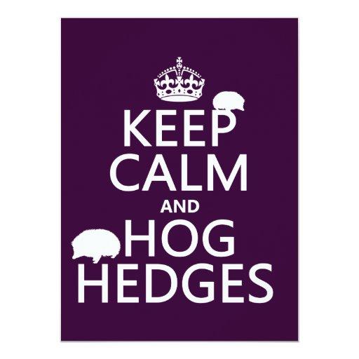 """Guarde la calma y Hog los setos (erizos) (todos Invitación 5.5"""" X 7.5"""""""