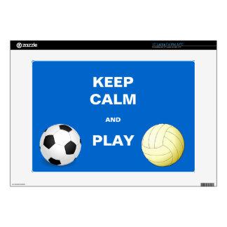 Guarde la calma y juego Socce y voleibol 38,1cm Portátil Calcomanías