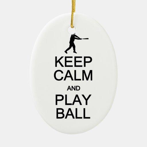 Guarde la calma y juegue el ornamento de la bola, adorno navideño ovalado de cerámica