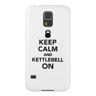 Guarde la calma y Kettlebell encendido Fundas Para Galaxy S5