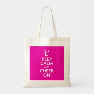 Guarde la calma y la alegría encendido rosa de la bolsa lienzo