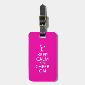 Guarde la calma y la alegría encendido rosa de la etiquetas de maletas