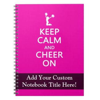 Guarde la calma y la alegría encendido, rosa de la note book
