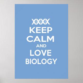 Guarde la calma y la biología del amor póster