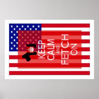 Guarde la calma y la búsqueda en bandera de los poster