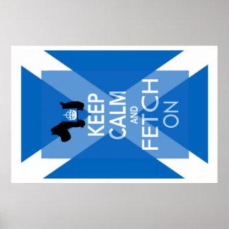 Guarde la calma y la búsqueda en la bandera de poster