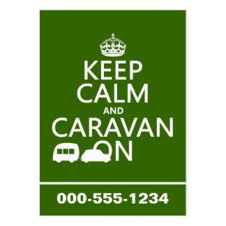 Guarde la calma y la caravana en (los colores adap tarjetas de visita