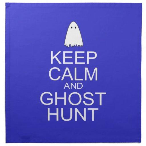 Guarde la calma y la caza del fantasma (la servilletas imprimidas