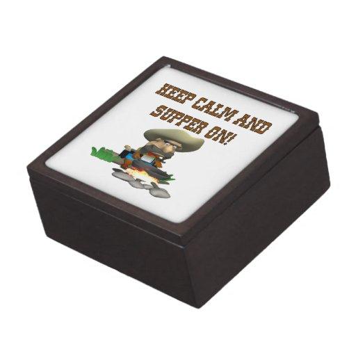 Guarde la calma y la cena encendido cajas de joyas de calidad