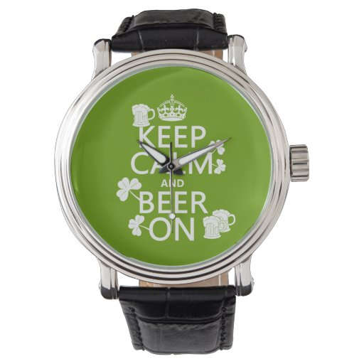 Guarde la calma y la cerveza en (irlandés) reloj