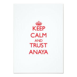 """Guarde la calma y la CONFIANZA Anaya Invitación 5"""" X 7"""""""