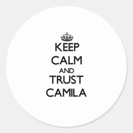 Guarde la calma y la confianza Camila Etiqueta Redonda