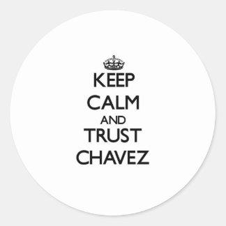 Guarde la calma y la confianza Chavez Pegatina Redonda