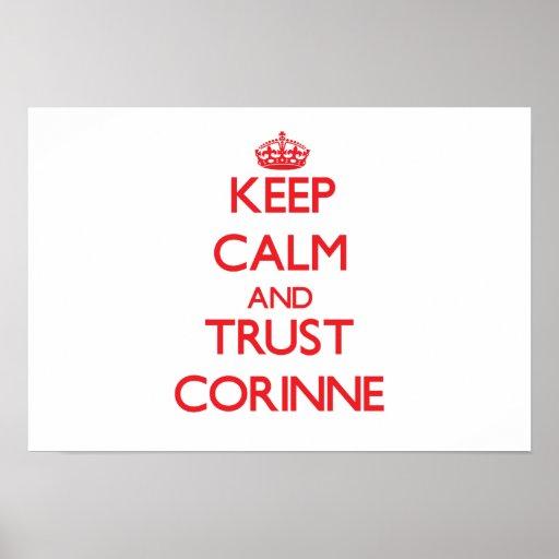 Guarde la calma y la CONFIANZA Corinne Poster