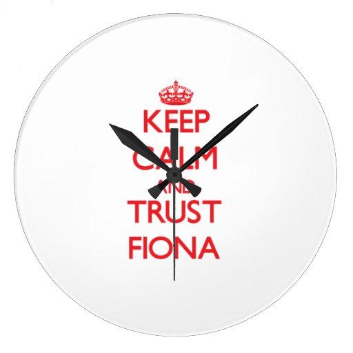 Guarde la calma y la CONFIANZA Fiona Reloj Redondo Grande