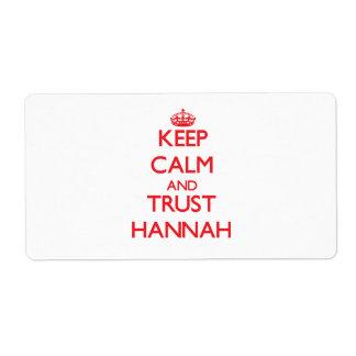 Guarde la calma y la CONFIANZA Hannah Etiqueta De Envío