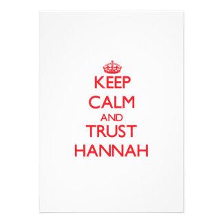 Guarde la calma y la CONFIANZA Hannah Comunicado Personal