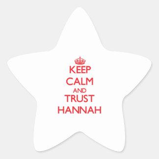 Guarde la calma y la CONFIANZA Hannah Pegatina En Forma De Estrella
