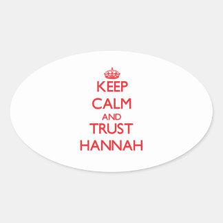 Guarde la calma y la CONFIANZA Hannah Pegatina Ovalada