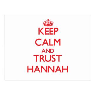 Guarde la calma y la CONFIANZA Hannah Postal