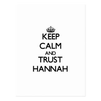 Guarde la calma y la confianza Hannah Postales