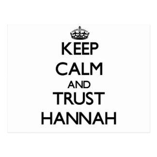 Guarde la calma y la confianza Hannah Tarjetas Postales