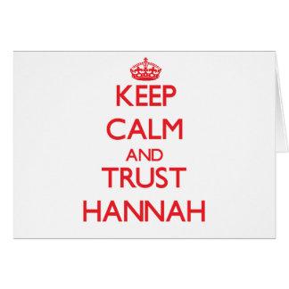 Guarde la calma y la CONFIANZA Hannah Tarjeton