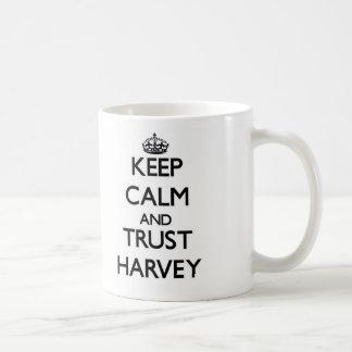 Guarde la calma y la confianza Harvey Taza