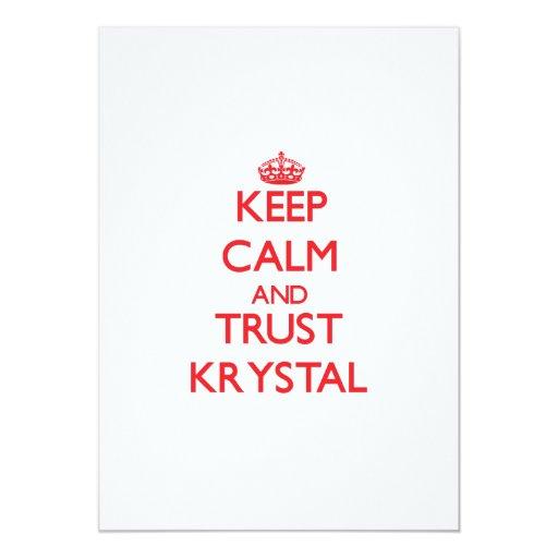 """Guarde la calma y la CONFIANZA Krystal Invitación 5"""" X 7"""""""