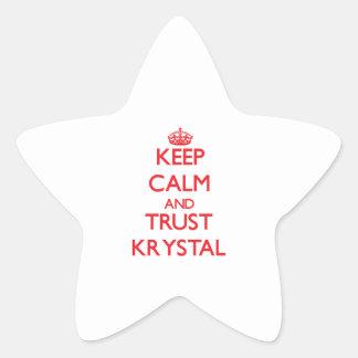 Guarde la calma y la CONFIANZA Krystal Pegatina En Forma De Estrella
