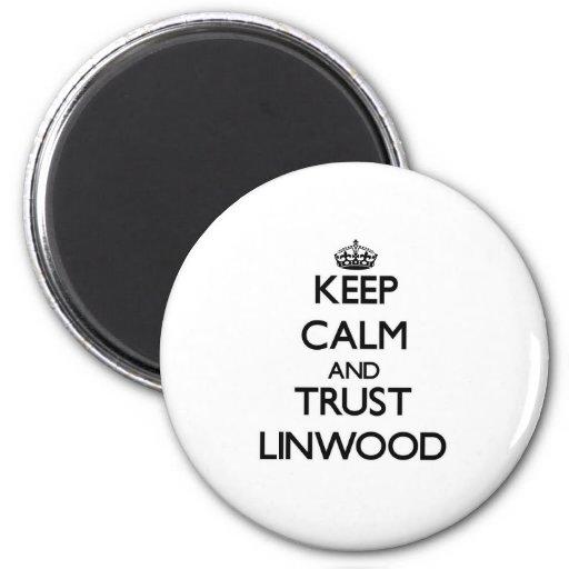 Guarde la calma y la CONFIANZA Linwood Imán Redondo 5 Cm