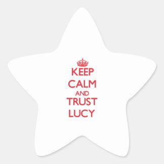 Guarde la calma y la CONFIANZA Lucy Calcomanías Forma De Estrella Personalizadas