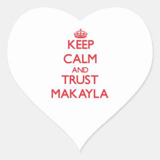Guarde la calma y la CONFIANZA Makayla Colcomanias De Corazon Personalizadas