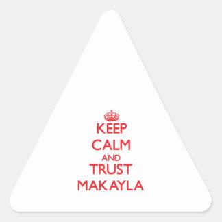 Guarde la calma y la CONFIANZA Makayla Calcomanías Trianguloes Personalizadas