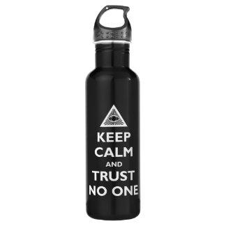 Guarde la calma y la confianza nadie botella de agua de acero inoxidable