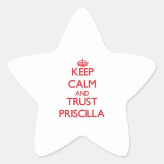 Guarde la calma y la CONFIANZA Priscilla Calcomanía Forma De Estrella Personalizadas