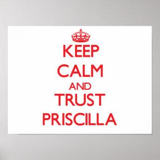 Guarde la calma y la CONFIANZA Priscilla Póster