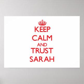 Guarde la calma y la CONFIANZA Sarah Impresiones
