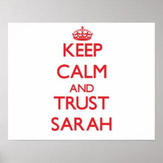 Guarde la calma y la CONFIANZA Sarah Posters