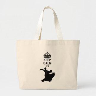 Guarde la calma y la danza de salón de baile bolsas