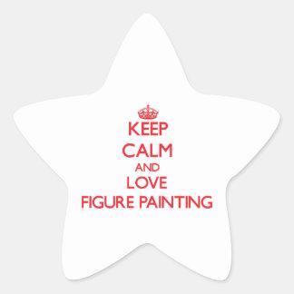 Guarde la calma y la figura pintura del amor pegatinas forma de estrella personalizadas