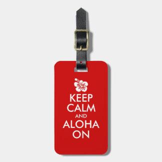 Guarde la calma y la hawaiana en hibisco etiquetas de equipaje