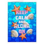 Guarde la calma y la hawaiana encendido tarjetas